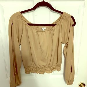 Beige smocked off the shoulder split sleeve top